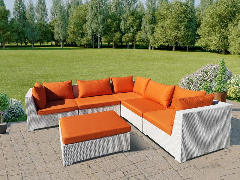 Lounge Weiss Set 6 Teilig Orange Gartenlounge